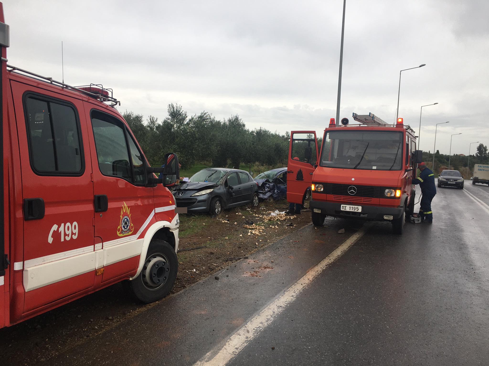 Δύο τραυματίες από μετωπική σύγκρουση στο δρόμο Κυπαρισσίας - Φιλιατρών