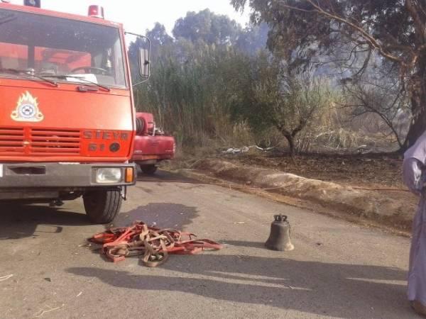 Βρήκαν καμπάνα μετά τη φωτιά στην Ασπροπουλιά