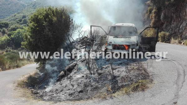 Μεσσηνία: Αυτοκίνητο κάηκε εν κινήσει κοντά στο Μοναστήρι Αετού
