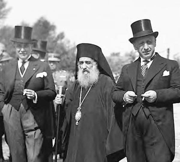 Ο Γεώργιος Παπανδρέου και ο μητροπολίτηςΜεσσηνίας Πολύκαρπος Συνοδινός